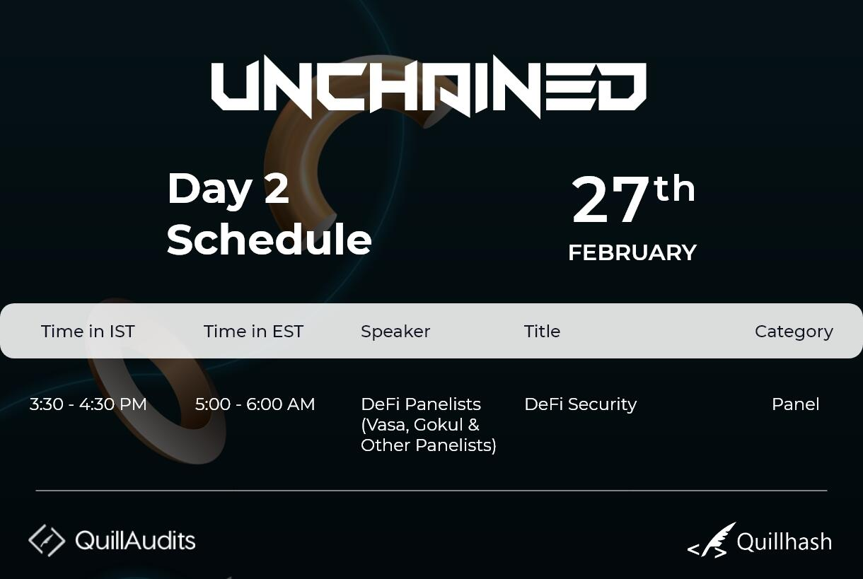 unchained schedule day2